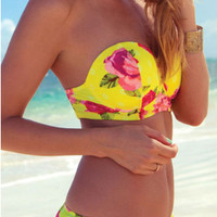 Yellow Floral Print Strapless High Waist Bikini Set