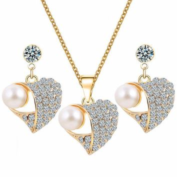 N316 Full Crystal Heart Jewelry Sets LOVE Wedding Engagement Women Simulated Pearls Set Necklace / Earrings Fashion Sale