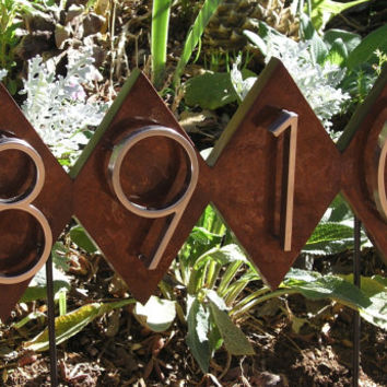 Dimond Lawn House Numbers Plaque. Mid Century Address Sign, Free Shipping, Quality Solid Mahogany with Yacht Gloss Finish.