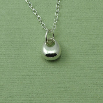 Tiny Raindrop Necklace - sterling silver raindrop pendant - trendy jewelry - tiny tear drop necklace