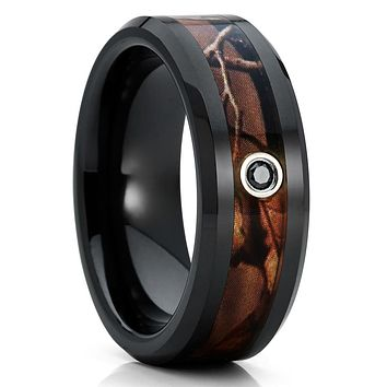 Ceramic Wedding Band - Black Diamond - Camo Ring - Black Ceramic Ring