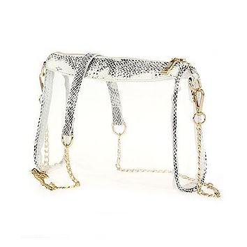 Animal Print Trim Clear Crossbody Bag
