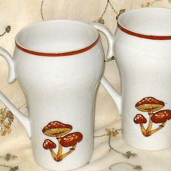 Vintage Bone China Latte Coffee Mugs Cups Mushrooms