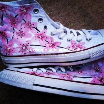DCCK1IN hand painted pink japanese cherry blossoms on converse chucks hi tops for women