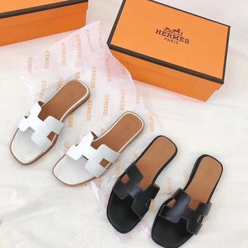 """Hermès"" Women Fashion Simple Solid Color Genuine Leather H Slippers All-match Casual Sandals Flats Shoes"