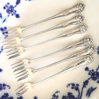 Sterling Silver Oyster Forks, Set of 6 Gorham Lancaster Antique Sterling Cocktail Forks, Monogram B, Wedding Gift, Sterling Silver Flatware