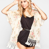 Lottie & Holly Floral Fringe Womens Kimono Cream  In Sizes