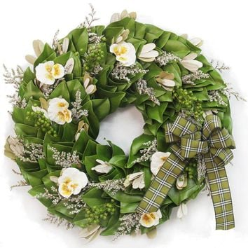 """A Garden Gathering Dried and Preserved Magnolia Wreath (18"""")"""