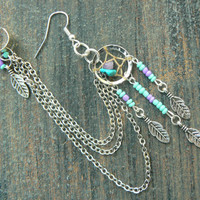 ONE turquoise dreamcatcher chained ear cuff turquoise and amethyst cross cuff in boho gypsy hippie hipster native american and tribal style