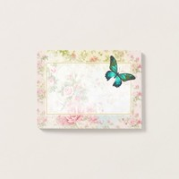 Emerald Green Butterfly on Chic Vintage Collage Post-it Notes