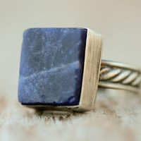 Raw Lapis Gemstone Ring Set in Etched Recycled Sterling Band with Brushed Sterling Bezel - Starry Night Collection