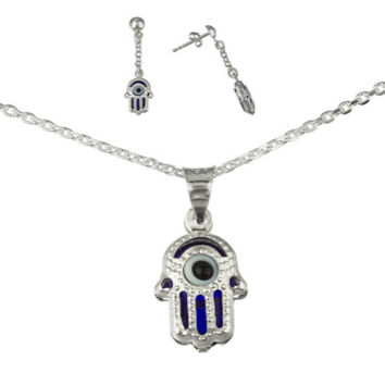 925 Sterling Silver Blue Hamsa Hand and Eye Pendant Necklace with Matching Earrings Set