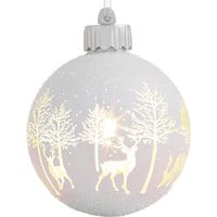 Holiday Lane White Winter Ball Light-Up Glass Ornament, Created for Macy's | macys.com