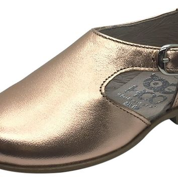 Hoo Shoes Girl's and Boy's Rose Gold Metallic Leather Single Strap Buckle with Side Cut-Out Oxford Shoes