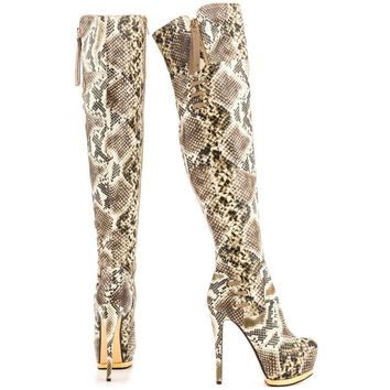 "Luichiny May La Snake Print 6"" Heel Over The Knee Platform Boot Beige Size 9"