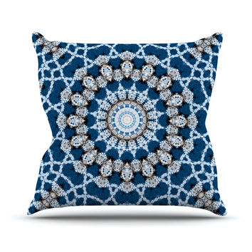 "Iris Lehnhardt ""Mandala II"" Blue Abstract Throw Pillow"