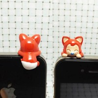 Adorable White Panty Hanging Little Red Fox Cat Dust Plug 3.5mm Phone Accessory Cell Phone Plug iPhone Dust Plug Samsung Plug Phone Charm Headphone Jack Earphone Cap Ear Cap Dust Plug