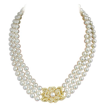 Mikimoto Triple Strand Pearl Necklace with Diamond Flower