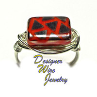 DWJ0330 Retro Vintage Czech Glass Burnt Orange Silver Wire Wrap Ring All Sizes