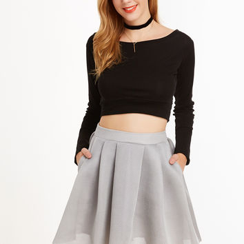 Grey Box Pleated Mesh Skirt