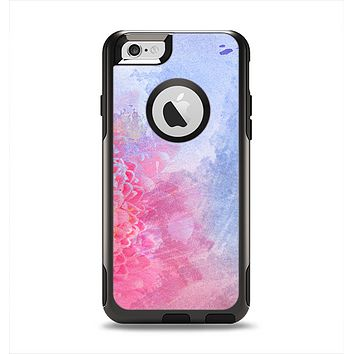 The Pink to Blue Faded Color Floral Apple iPhone 6 Otterbox Commuter Case Skin Set