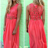 Hawaiian Babe Crochet Lace Bodice Coral Maxi Dress