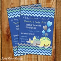 Chevron Baby Shower Invitation Whale Invite Boy Shower Chevron Invite Party Free Thank you card