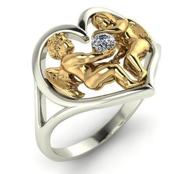 Heart ring Unique Engagement ring Floral ring 18K gold Engagement gift