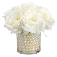 White Rose in Glass Vase