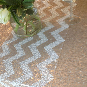 Chevron Sequin Table Runner - Wedding - READY TO SHIP - 12 x 108