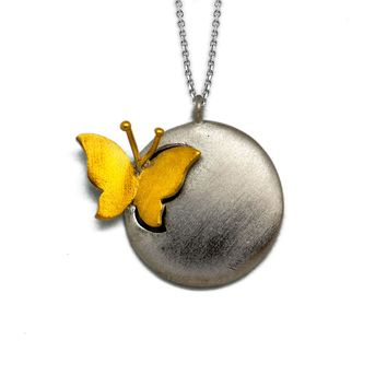 Fashionable Simple Elegant Butterfly Ball 925 Sterling Silver Necklace