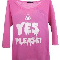 Wildfox Couture Yes Please Off-the-Shoulder Sweatshirt Flash Dance in Neon Pink