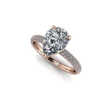Pear Cut Diamond Pave Engagement Ring -Celestial Premier Moissanite - Customize Your Ring