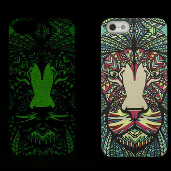 So Cool Night King Tiger Animal Handmade Carving Luminous Light Up iPhone Cases for 5S 6 6S Plus Free Shipping