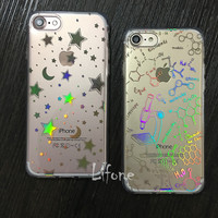 Top Laser colorful Moon Stars Geometric Images Case For iPhone 7 6 6S Plus Clear Bling Hard Cover For iPhone 6 7 6S Fundas Capa
