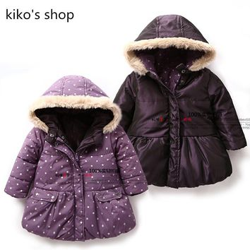 Children's winter coat jackets baby girls winter Fashion wear purple coat