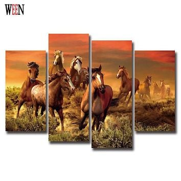 Cuadros Canvas Painting 4Pcs Running Horses Painting Modern Wall art Home Decorative poster Paint On Canvas Prints cheap gift