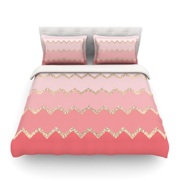 "Monika Strigel ""Avalon Coral Ombre"" Pink Chevron Featherweight Duvet Cover"