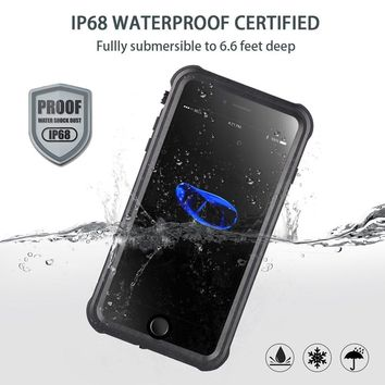 iPhone 6 Plus/ 6s Plus Waterproof Case, Outdoors IP68 Certified Full Sealed Protective Cover, Clear Sound Waterproof Shockproof Dirtproof Snowproof Case with Fingerprint Touch for Apple iPhone 6 Plus/