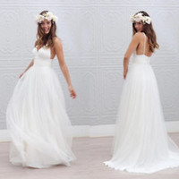 V Neck Flowy Summer Beach Wedding Dress Open Back Country Bridal Dress Gown