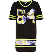 Black 64 floral applique varsity t-shirt - day / t-shirt dresses - dresses - women