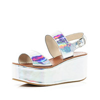 Silver holographic flatform sandals - wedges - shoes / boots - women