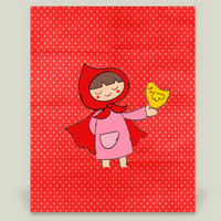 Little Riding Red Hood Art Print by enelbosqueencantado on BoomBoomPrints