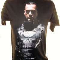 The Punisher (Marvel Comics) Mens T-Shirt - Frank Castle in Shadow on Black