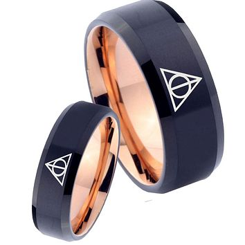 His Hers Deathly Hallows Bevel Tungsten Rose Gold Mens Promise Ring Set