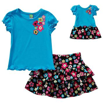 Dollie & Me Floral Top & Skirt Set - Girls