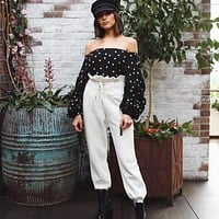 Women Simple Casual Frills Drawstring High Waist Leisure Pants Trousers Solid Color Harlan Pants