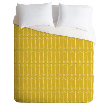 Allyson Johnson Chartreuse Arrows Duvet Cover