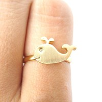 Adorable Whale Shaped Animal Inspired Adjustable Ring in Gold | Animal Jewelry
