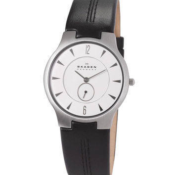 Skagen 433LSLC Men's Denmark White Dial Leather Strap Quartz Watch